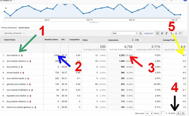 Raktinių frazių atrinkimas su google ads ( adwords) su google search console